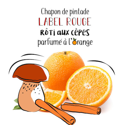Pintade Label rouge roti aux cepes parfumé à l'orange